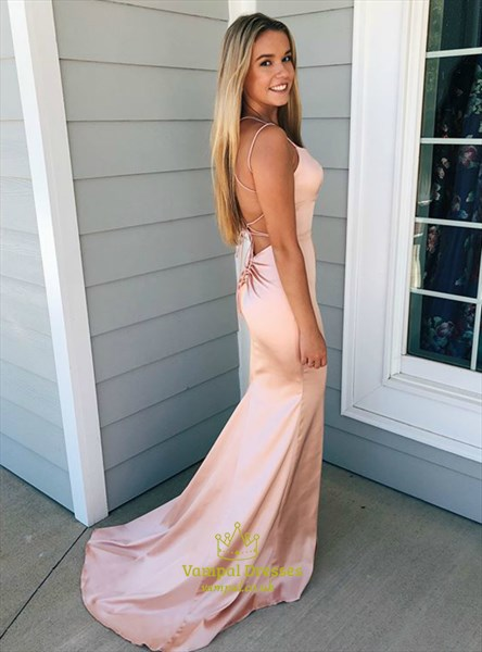 Long Sleeveless Peach Mermaid Prom Dresses With Backless Straps
