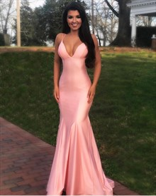 Gorgeous V Neck Mermaid Pink Long Prom Dress With Crossing Back Straps