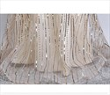 Gold Sheer Illusion Neckline Sequin Long Prom Dress With Half Sleeves