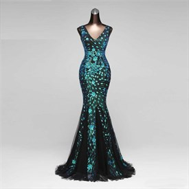 Green Mermaid Luxury Glitter Diamond Beaded Crystal V Neck Evening Prom Dress