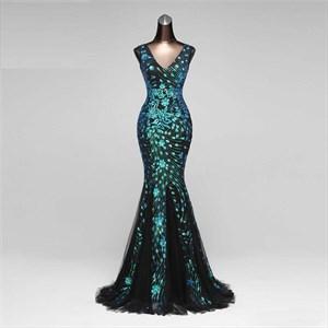 Green Mermaid Luxury Glitter Diamond Beaded Crystal V Neck Evening Prom Dress