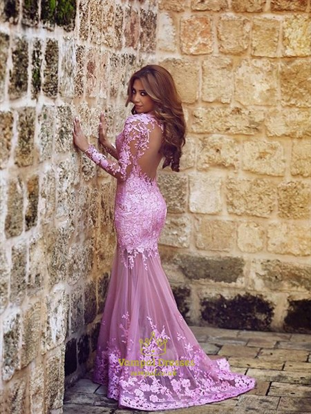 Vintage Lilac Long Sleeve Lace Sheer Open Back Mermaid Prom Dress