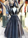 Black V-Neck Lace-Applique Tulle Sleeveless Beaded Waist Prom Dresses