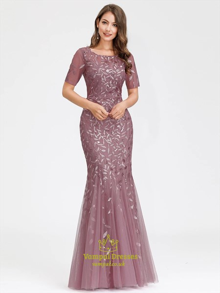 Dusty Rose Floral Embroidered Mermaid Prom Dresses With Short Sleeves