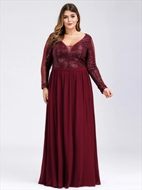 Burgundy Chiffon Prom Dress With Long Sleeve Sequin Embellished Bodice
