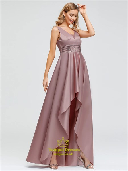 Dusty Rose V-Neck Sleeveless High Low Prom Dresses With Ruffle Accents