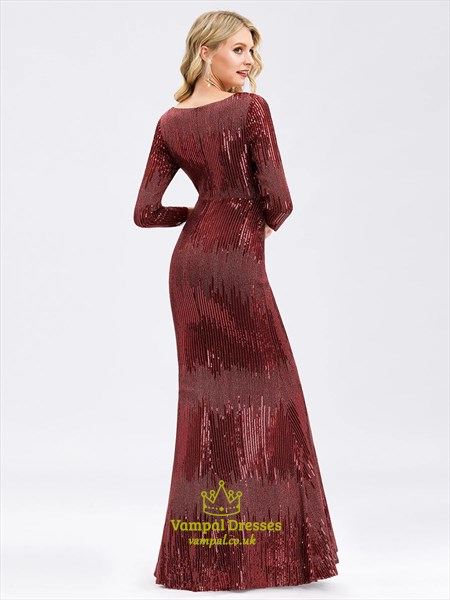 Sparkly Burgundy Sequin V Neck Mermaid Prom Dresses With Long Sleeves