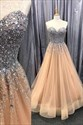 Champagne Strapless Sweetheart Prom Dress With Jewel Embellished Bodice