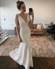 Ivory Plunging V Neck Sleeveless Mermaid Prom Dress With Side Cutouts