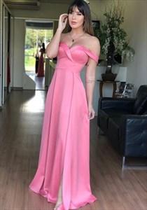 Hot Pink Off The Shoulder Embellished Long Prom Dress With Side Split
