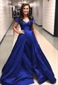 Royal Blue V Neck Off The Shoulder Cap Sleeve Prom Dresses With Split