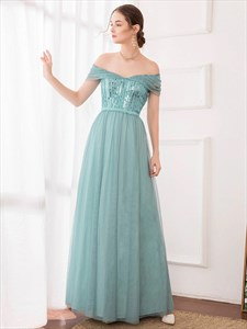 Green Sequin Bodice Strapless Off The Shoulder Tulle Bridesmaid Dress