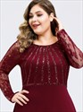 Sequin Lace Bodice Plus Size Prom Dress With Long Sleeves