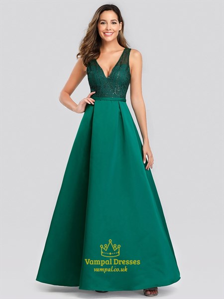 Emerald Green V-Neck Sleeveless Sequin-Bodice Long Satin Prom Dresses