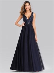 Navy Blue V Neck Sleeveless Sequin Top Tulle Bottom Bridesmaid Dresses