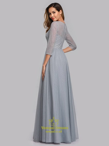 Grey Lace Illusion Embroidered Bateau Neck Prom Dress With 3/4 Sleeves