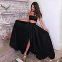 Long Two Piece Black Strapless Prom Dress With Slits On The Side
