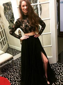 Black Two Piece Lace Illusion Bodice High Neck Long Sleeve Prom Dress