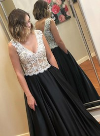 Long Illusion V-Neck Sleeveless Lace Applique Beaded Bodice Prom Dress