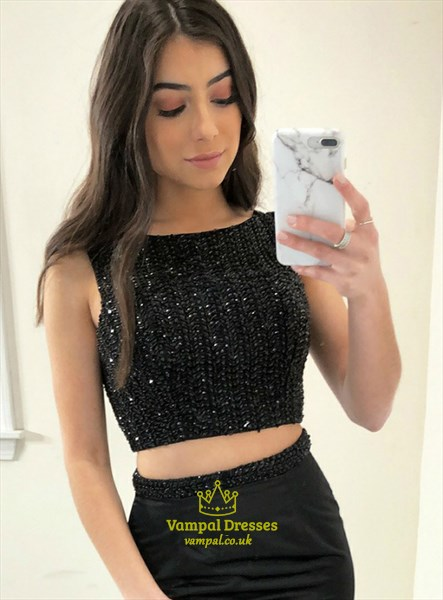Black Sleeveless Two Piece Mermaid Prom Dress With Embroidered Top