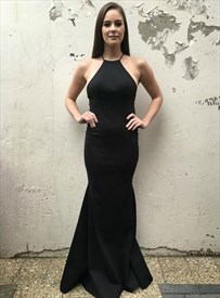 Charming Long Black Mermaid Backless Spaghetti Strap Prom Dresses