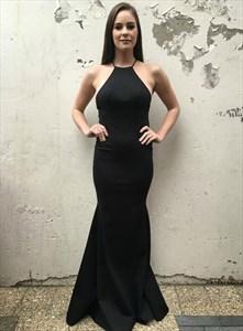 Charming Long Black Mermaid Backless Spaghetti Strap Prom Dresses