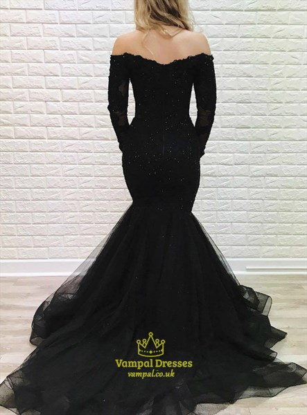 Black Off The Shoulder Mermaid Lace Applique Long Sleeve Prom Dresses