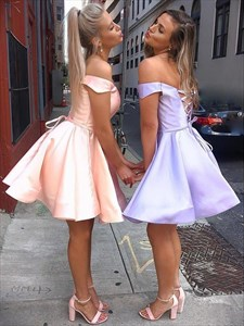 Satin Strapless Short Homecoming Dress With Off The Shoulder Sleeves
