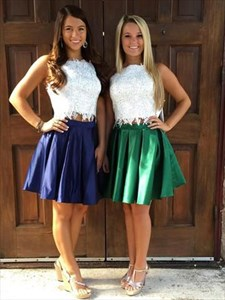 Two Piece Embroidered Lace Applique Bodice Short Homecoming Dresses