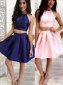 Cute A-Line Two Piece Short Sleeveless Halter Fitted Homecoming Dress