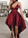 Burgundy V Neck Spaghetti Strap High Low Prom Dress With Open Back