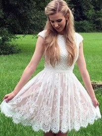 Short Lace Cap Sleeves Homecoming Dress With Beaded Embellishment