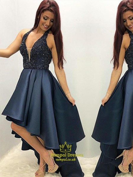 Navy Blue Halter A-Line V-Neck High-Low Prom Dress With Beaded Bodice