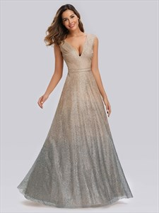 A Line Gold Champagne V Neck Sleeveless Ombre Sequin Long Prom Dresses