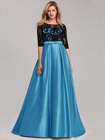 Long Satin Pastel Half Sleeves Prom Dresses With Illusion-Lace Bodice