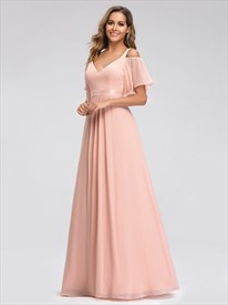 Long V-Neck A-Line Ruffle Chiffon Bridesmaid Dress With Flutter Sleeve