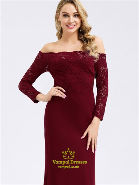 Burgundy Lace-Bodice Off The Shoulder Mermaid Prom Dress With Sleeves