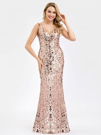 Rose Gold Mermaid Long V-Neck Sequin-Pattern Embellished Prom Dresses