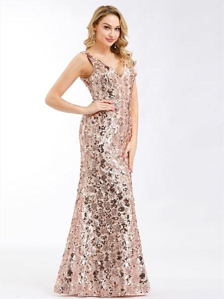 Rose Gold Mermaid Long V-Neck Sequin-Pattern Embellished Prom Dresses