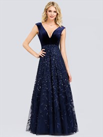 Navy Blue Lace Overlay Embellished V Neck Sleeveless Evening Dresses