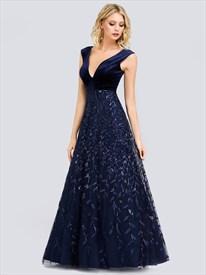 Navy Blue Lace Overlay Embellished V Neck Sleeveless Evening Dresses