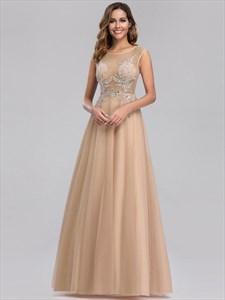Champagne Sleeveless Long Sheer Beaded-Illusion-Bodice Evening Dresses