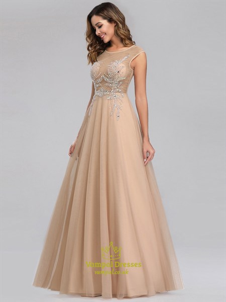 Champagne Sleeveless Long Sheer Beaded-Illusion-Bodice Evening Dresses