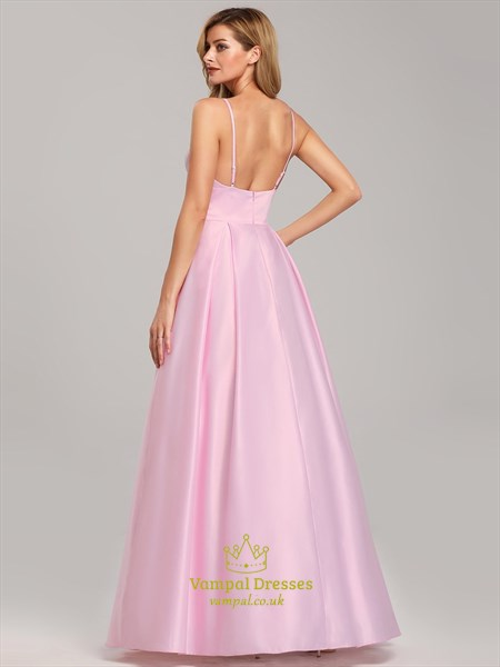 Pink Sleeveless Long Prom Dress With Low V-Neck And Adjustable Straps
