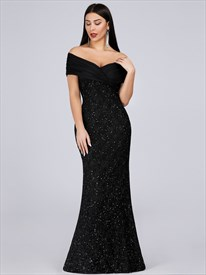 Black V Neck Off The Shoulder Sequin Mermaid Long Plus Size Prom Dress