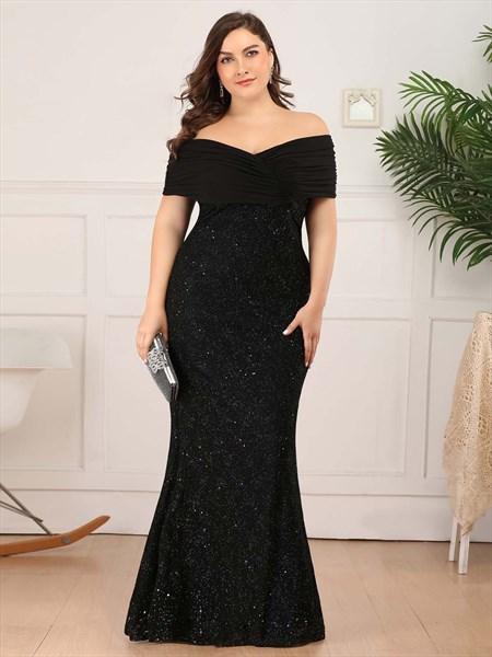 Black V Neck Off The Shoulder Sequin Mermaid Long Plus Size Prom Dress