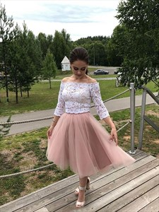 Two Piece Off The Shoulder Lace Top Long Sleeve Short Homecoming Dress
