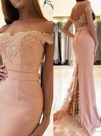 Pink Off The Shoulder Lace Embellished Mermaid Prom Dress With Train