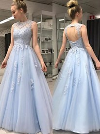 Sky Blue Sleeveless Beaded-Illusion-Bodice Lace Applique Prom Dresses