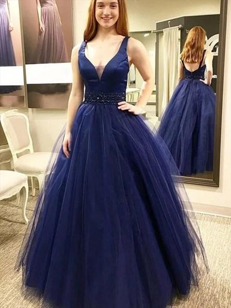 Glitter V Neck Sleeveless Tulle Prom Dresses With Crystal Beaded Waist